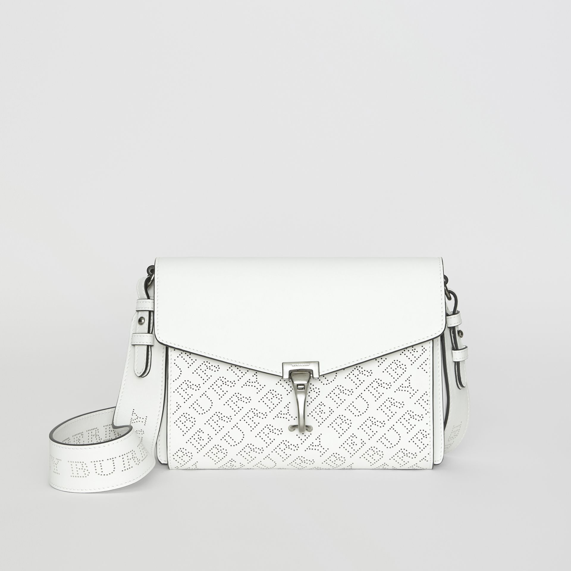 Small Perforated Logo Leather Crossbody Bag in Chalk White - Women | Burberry Hong Kong - gallery image 0