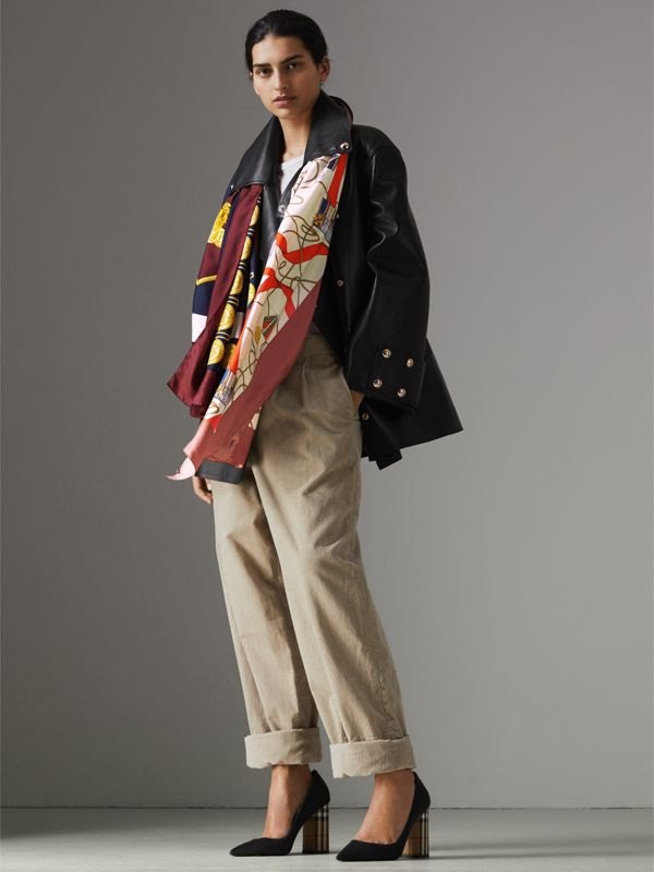 Archive Scarf Print Silk Oversized Scarf in Bright Ultramarine | Burberry - cell image 2