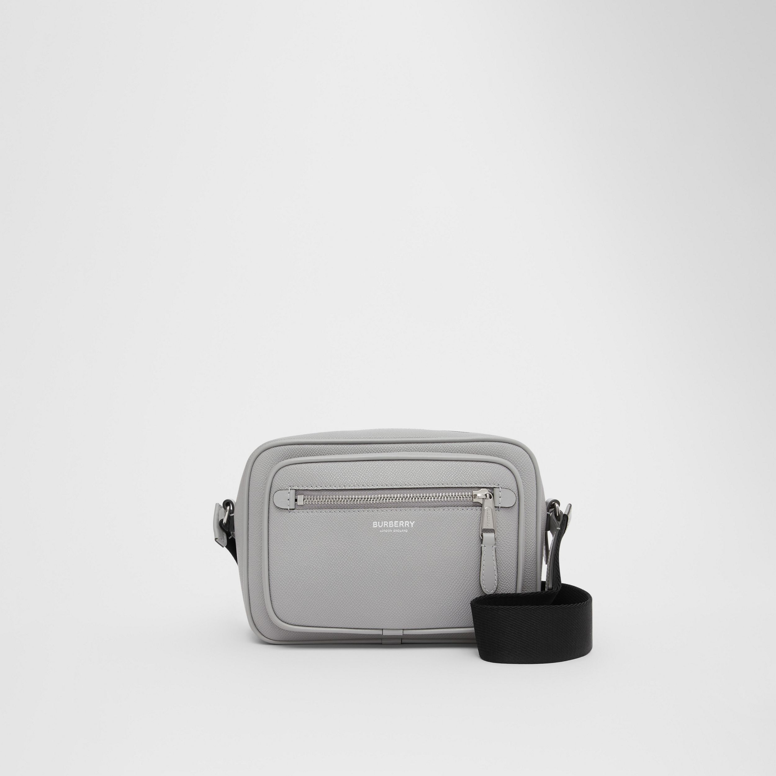Grainy Leather Crossbody Bag in Cloud Grey - Men | Burberry Australia - 1