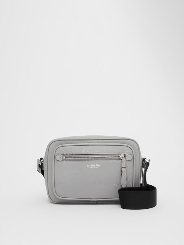 Grainy Leather Crossbody Bag in Cloud Grey