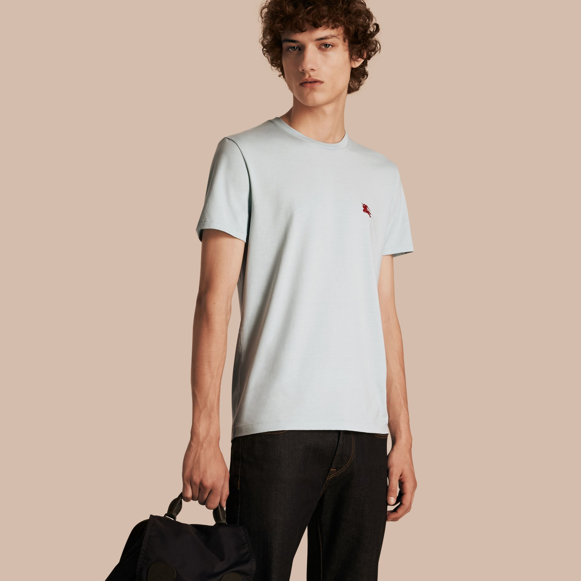 Cotton Jersey T-shirt in Pale Opal Blue - Men | Burberry - gallery image 1