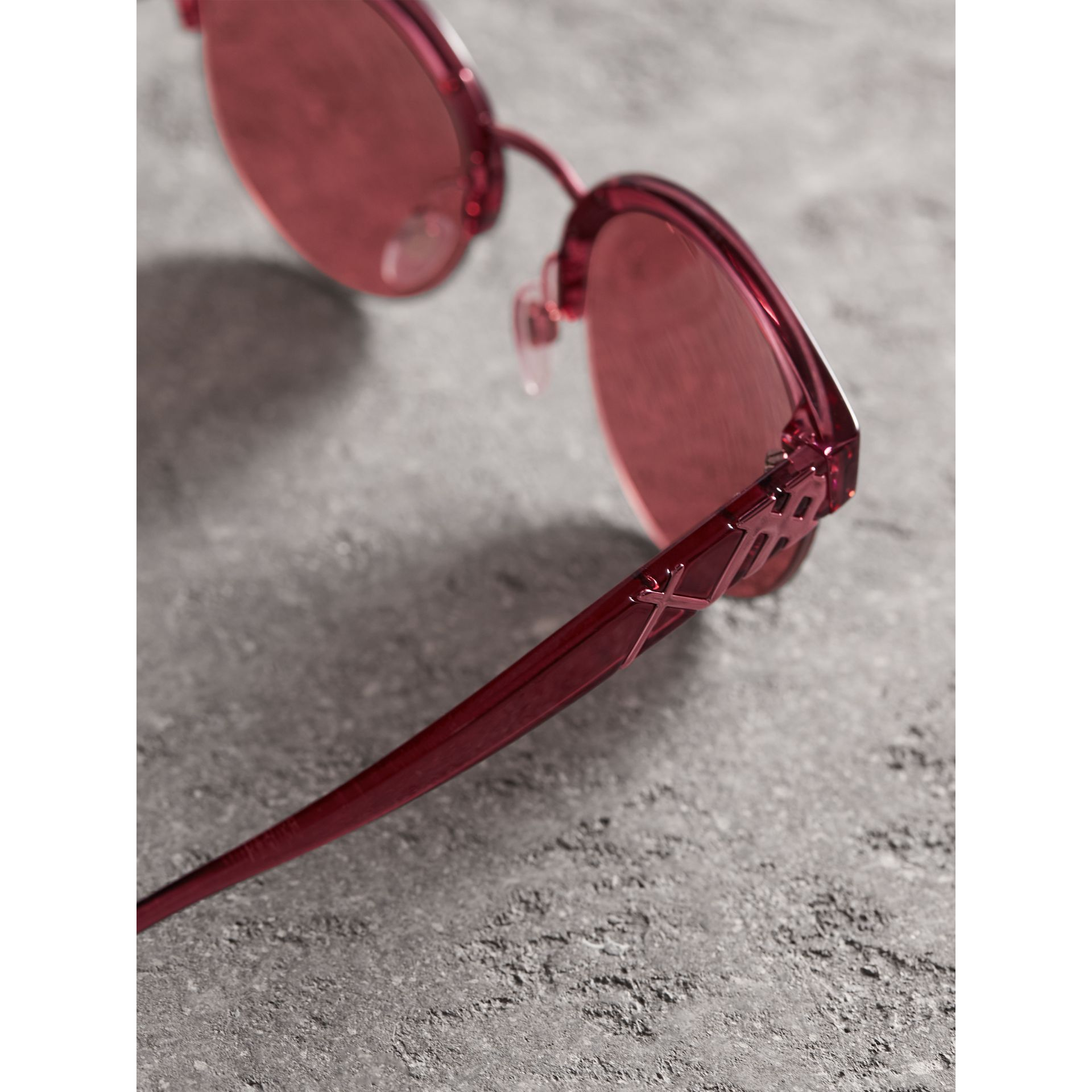 Check Detail Round Half-frame Sunglasses in Burgundy - Women | Burberry United States - gallery image 1