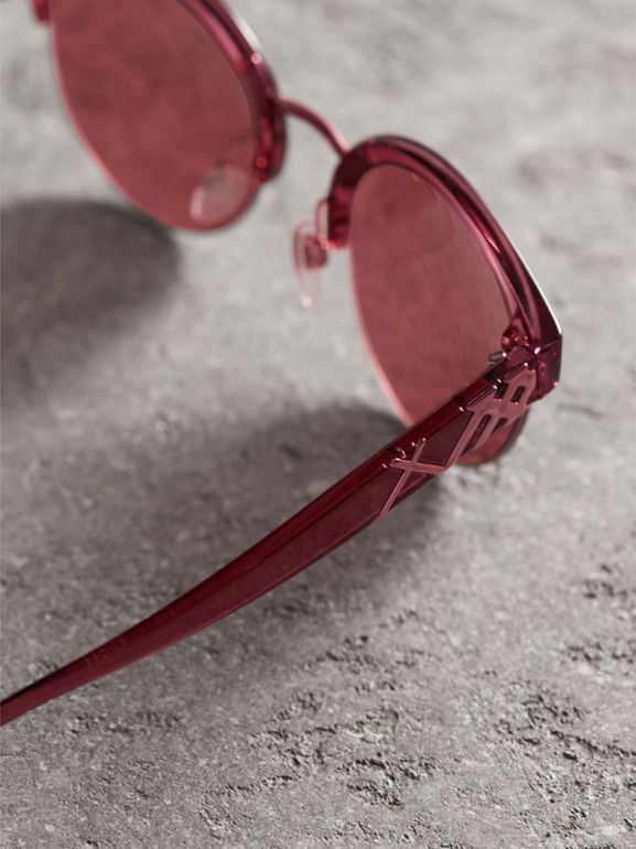 Check Detail Round Half-frame Sunglasses in Burgundy - Women | Burberry - cell image 1