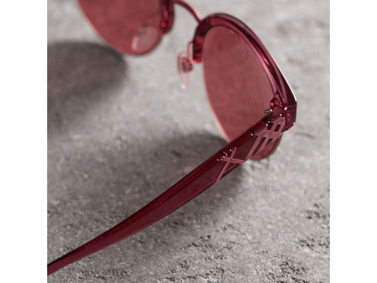 Check Detail Round Half-frame Sunglasses in Burgundy - Women | Burberry United States - cell image 1