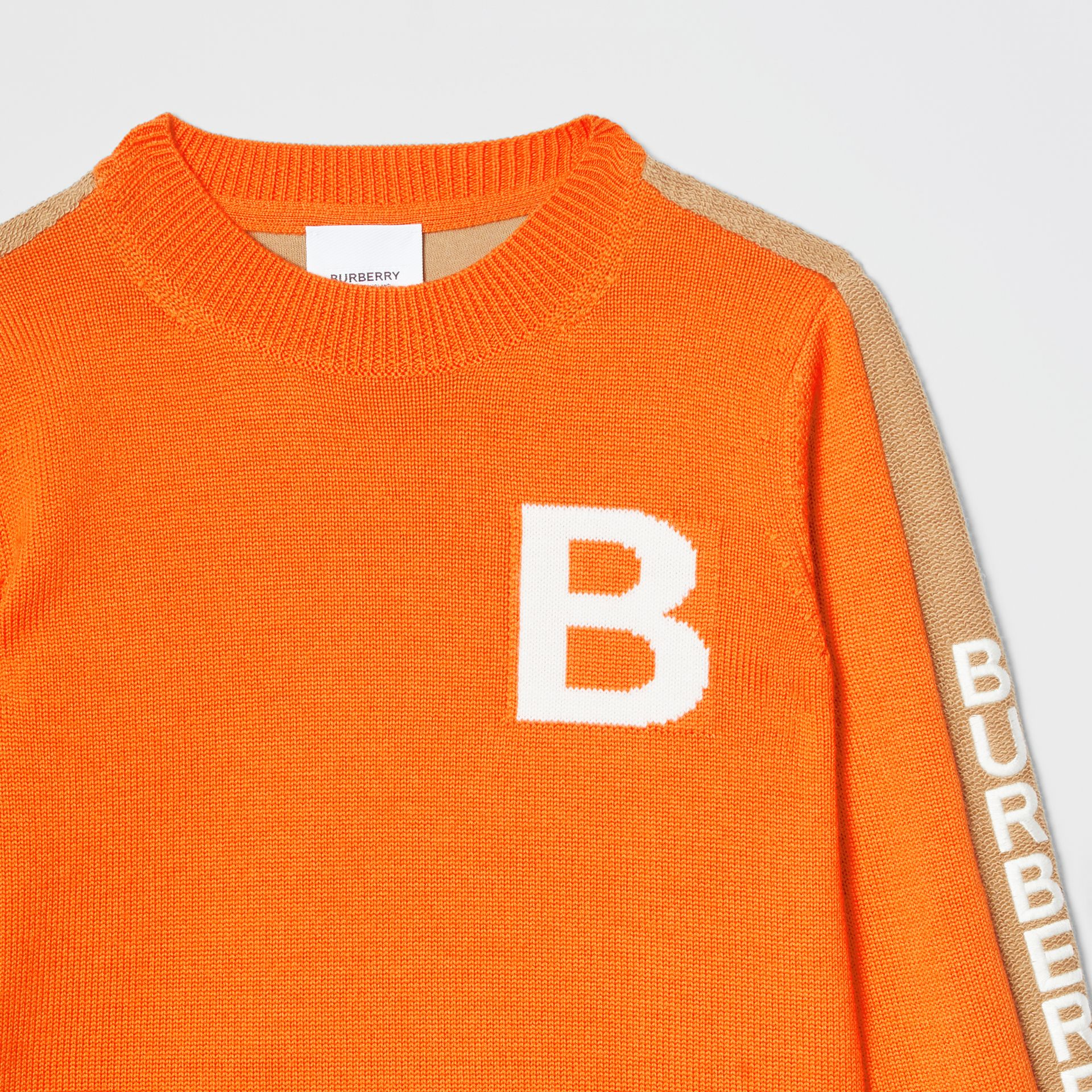 B Motif Merino Wool Jacquard Sweater in Bright Orange | Burberry United States - gallery image 5