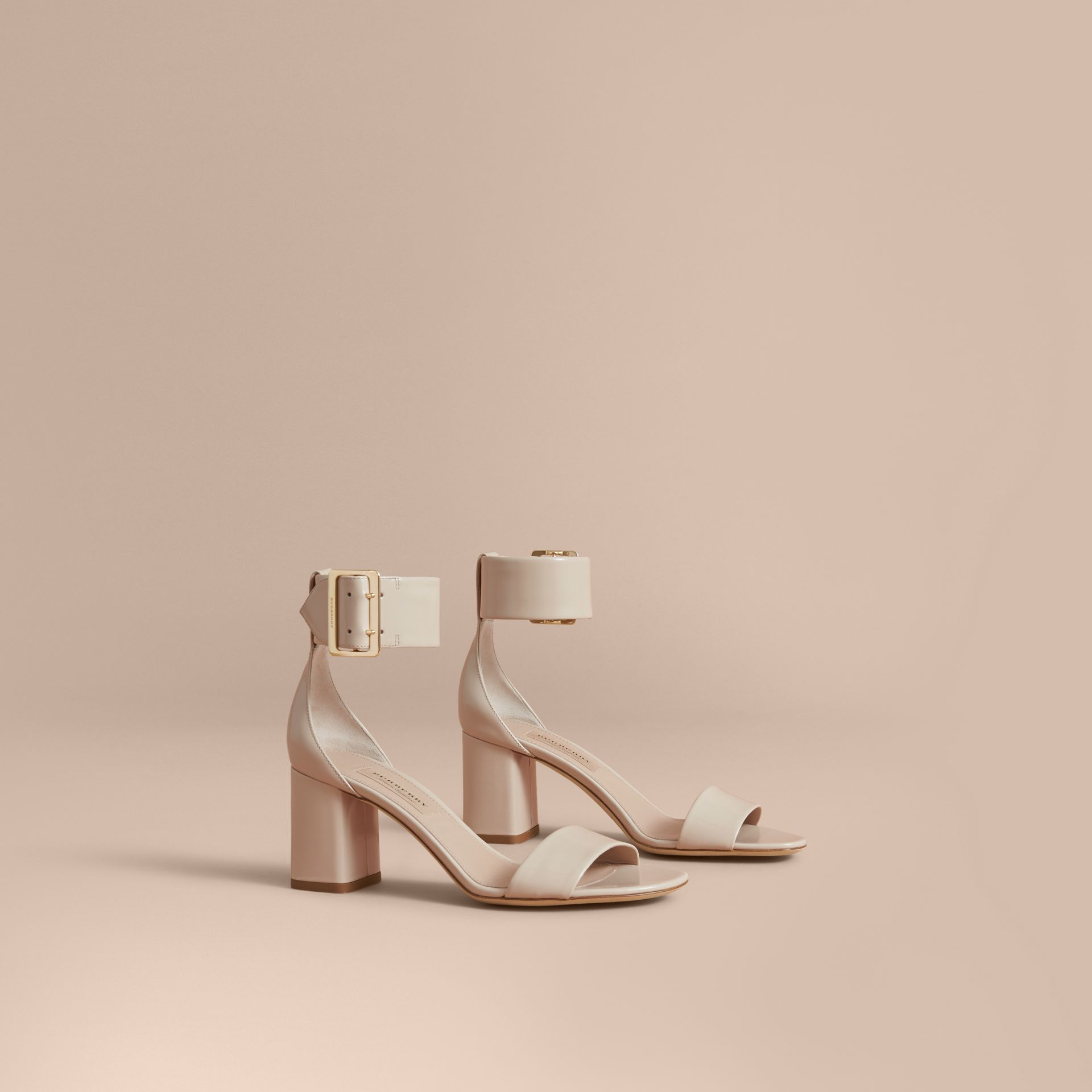 Buckle Detail Patent Leather Sandals in Pale Taupe - Women | Burberry - gallery image 1