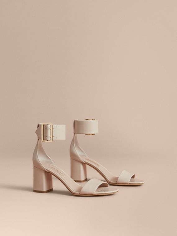 Buckle Detail Patent Leather Sandals in Pale Taupe