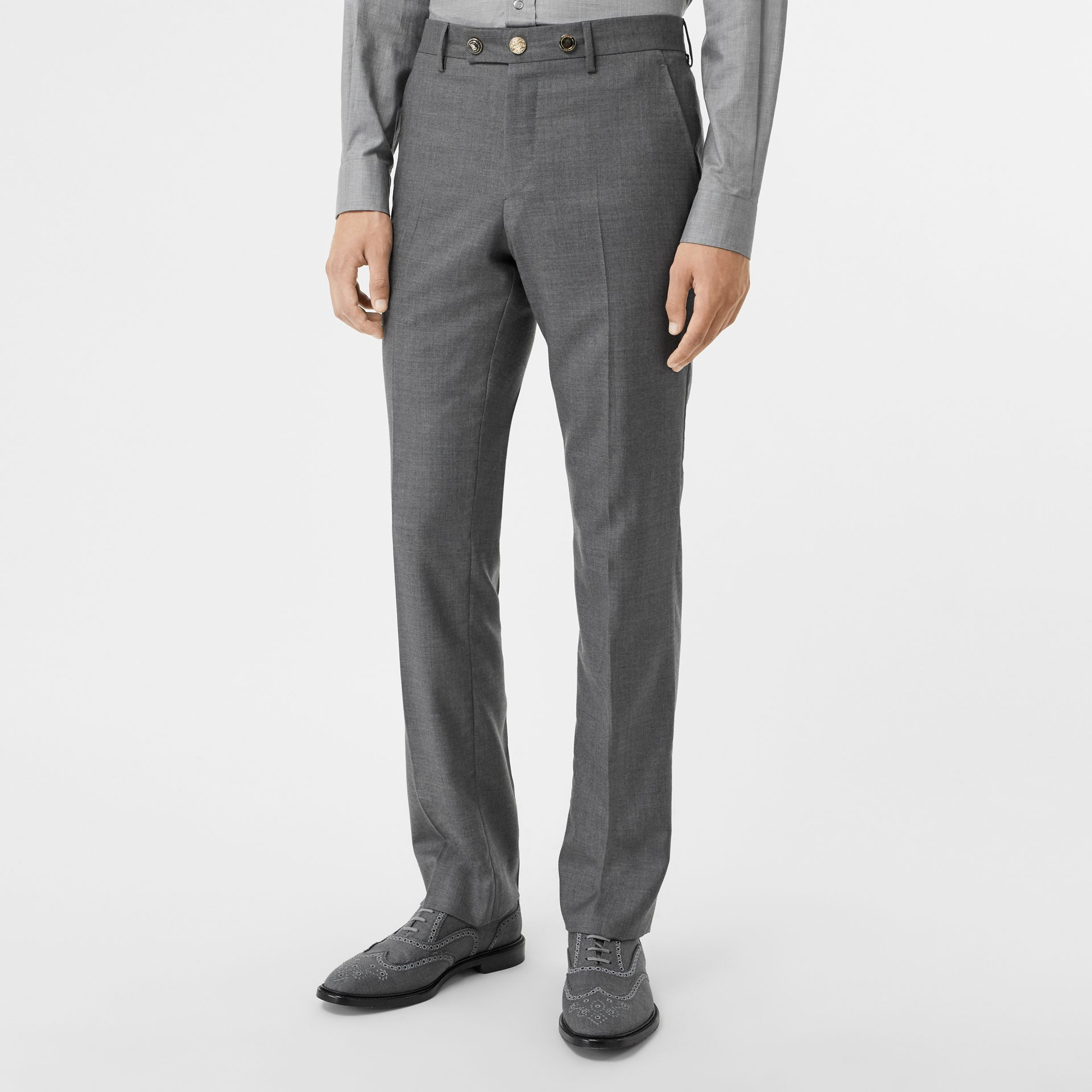 Classic Fit Metal Button Wool Tailored Trousers in Light Grey | Burberry - gallery image 4