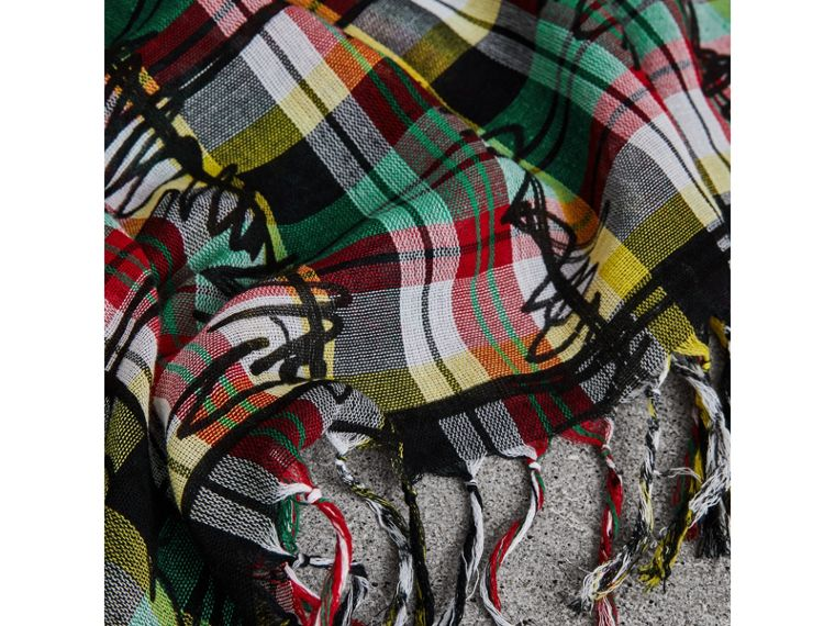 The Burberry Bandana in Scribble Check Cotton Silk in Pine Green | Burberry - cell image 1