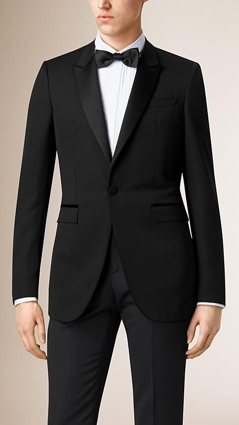 Black Satin Lapel Tuxedo Jacket - Image 2