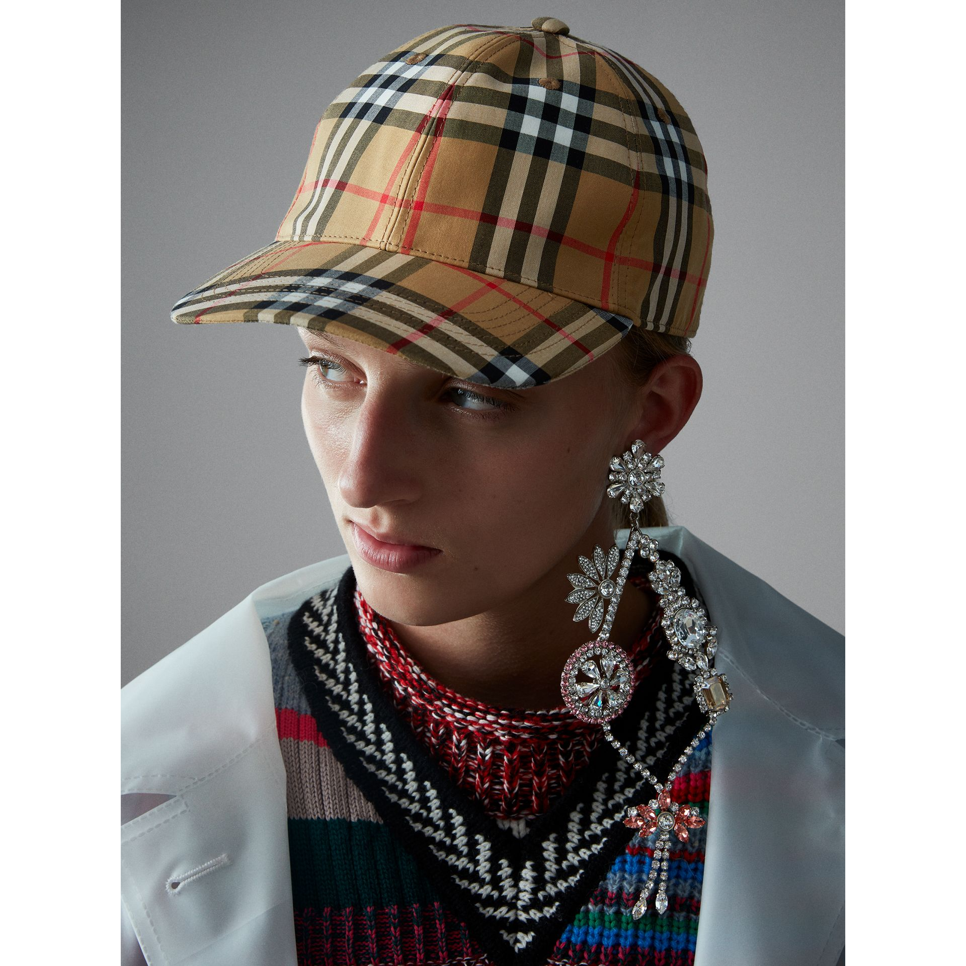 Vintage Check Baseball Cap in Antique Yellow | Burberry - gallery image 2