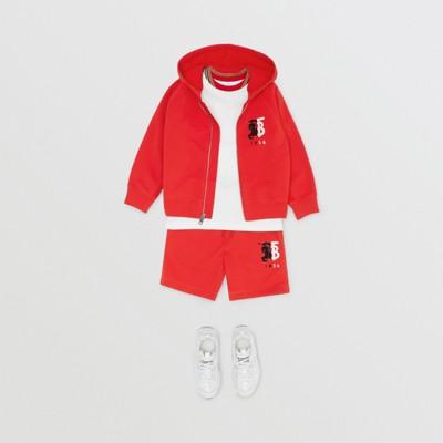 Kapuzenoberteil aus Baumwolle mit kontrastierender Logo Grafik (Leuchtendes Rot) | Burberry