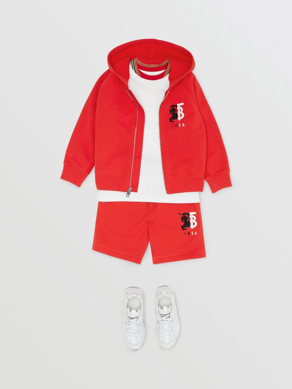 Contrast Logo Graphic Cotton Hooded Top in Bright Red | Burberry - cell image 2