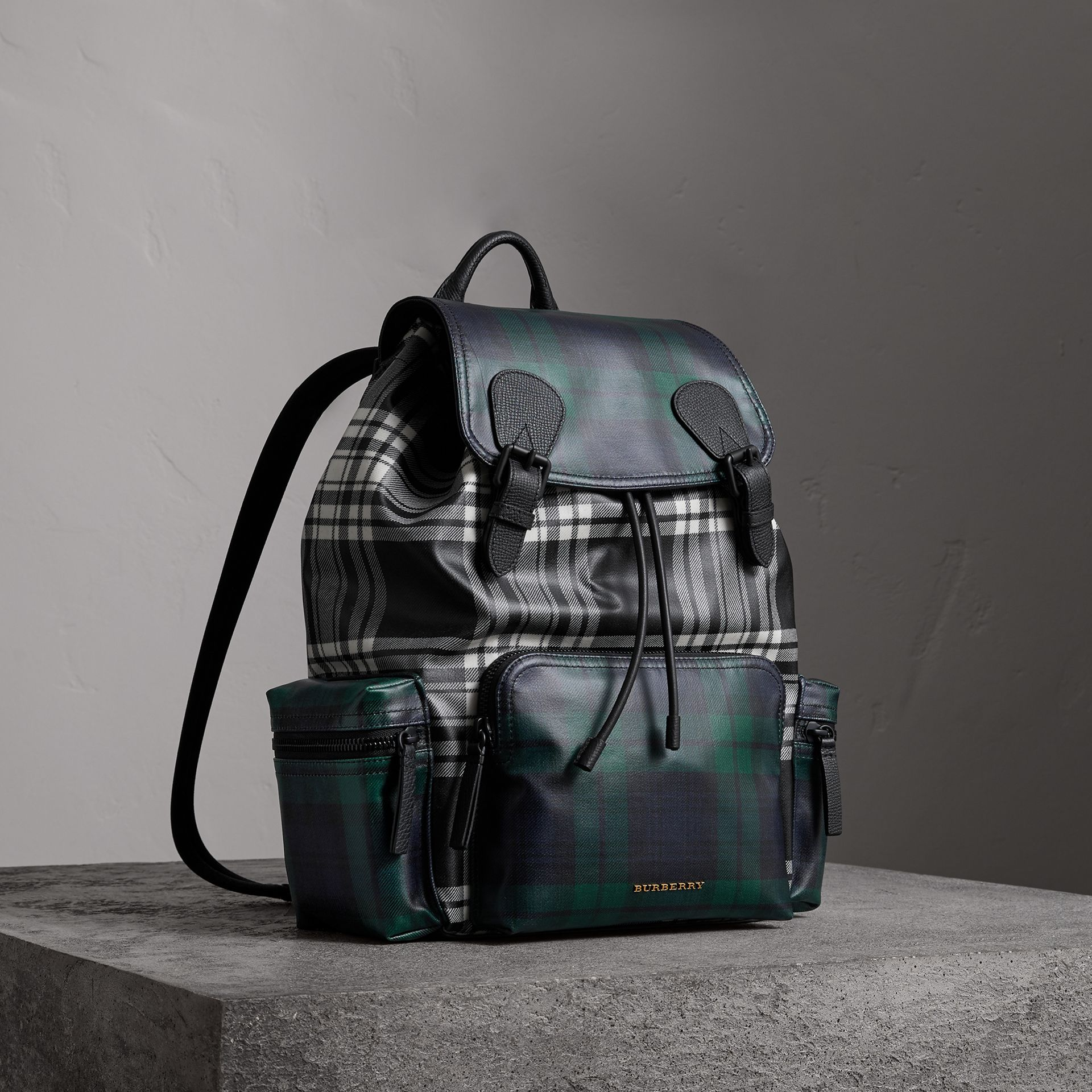 The Large Rucksack in Laminated Tartan in Black/white - Men | Burberry - gallery image 0