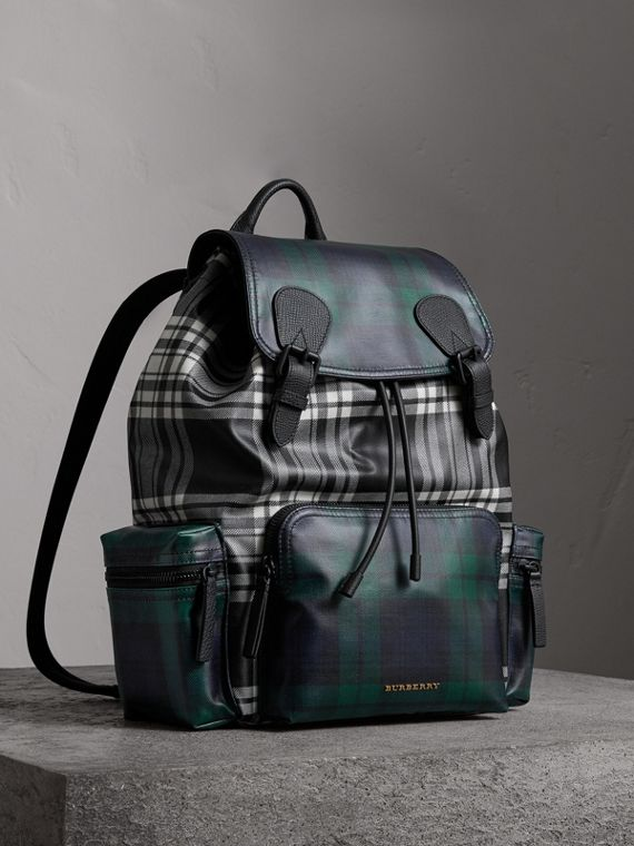 The Large Rucksack in Laminated Tartan in Black/white