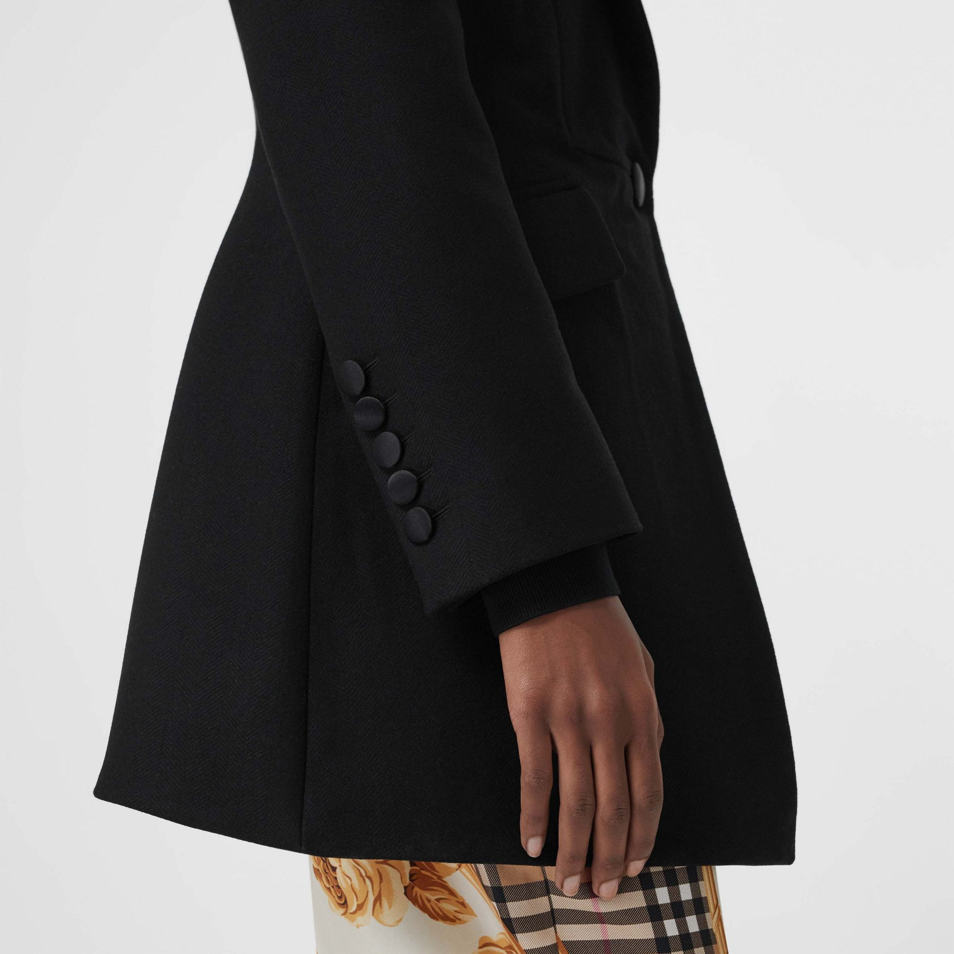 Herringbone Wool Cashmere Blend Tailored Jacket in Black - Women | Burberry - gallery image 1