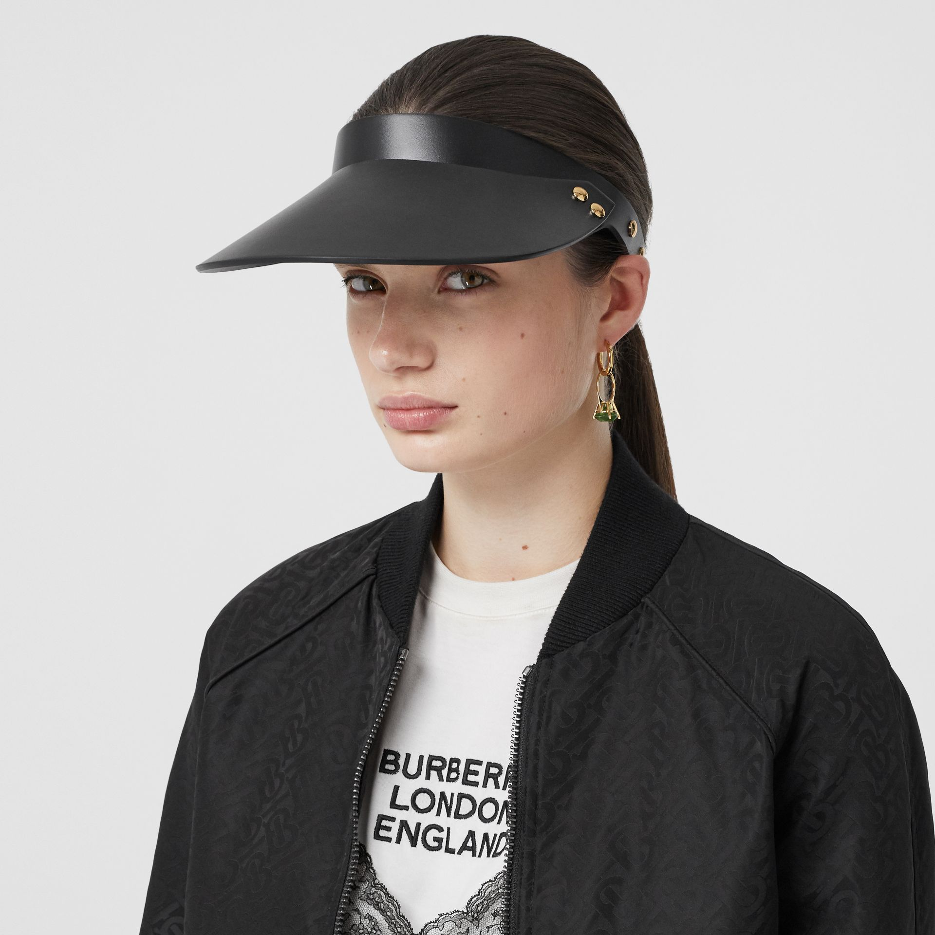 Studded Leather Visor in Black | Burberry - gallery image 2