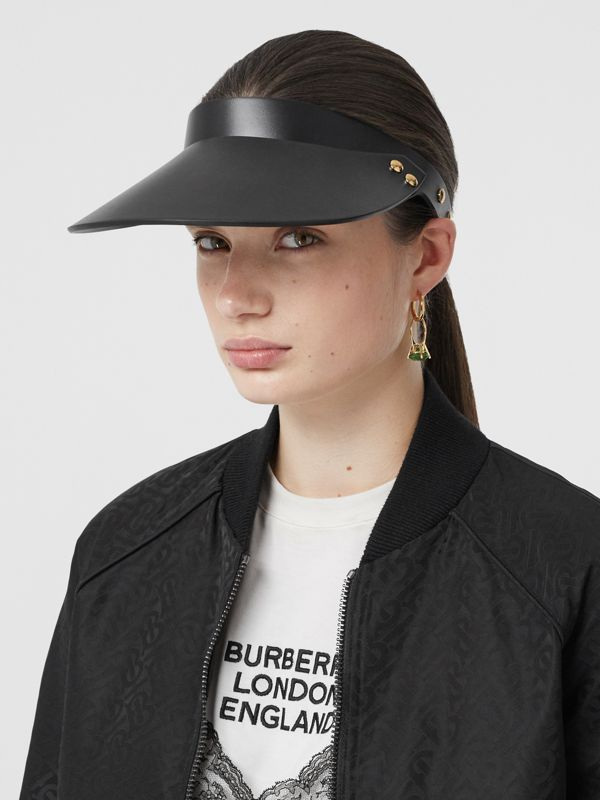 Studded Leather Visor in Black | Burberry United States - cell image 2