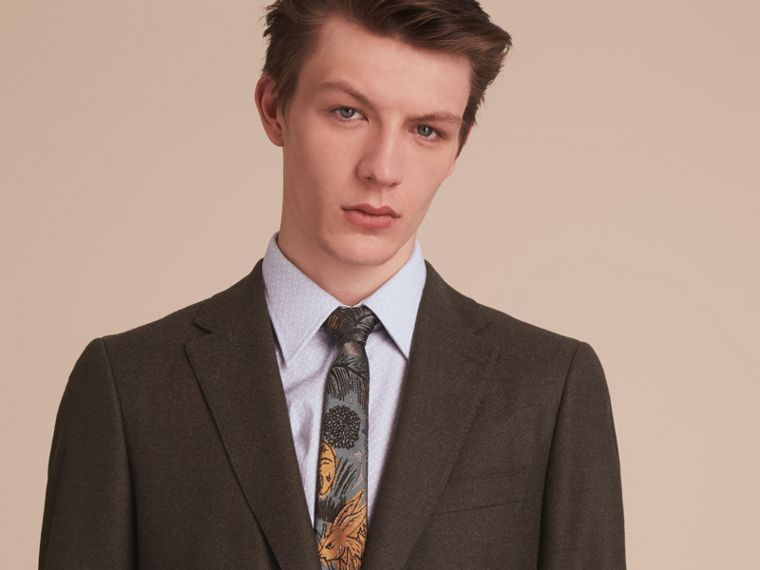 Soho Fit Wool Flannel Suit in Military Green Melange - Men | Burberry - cell image 4