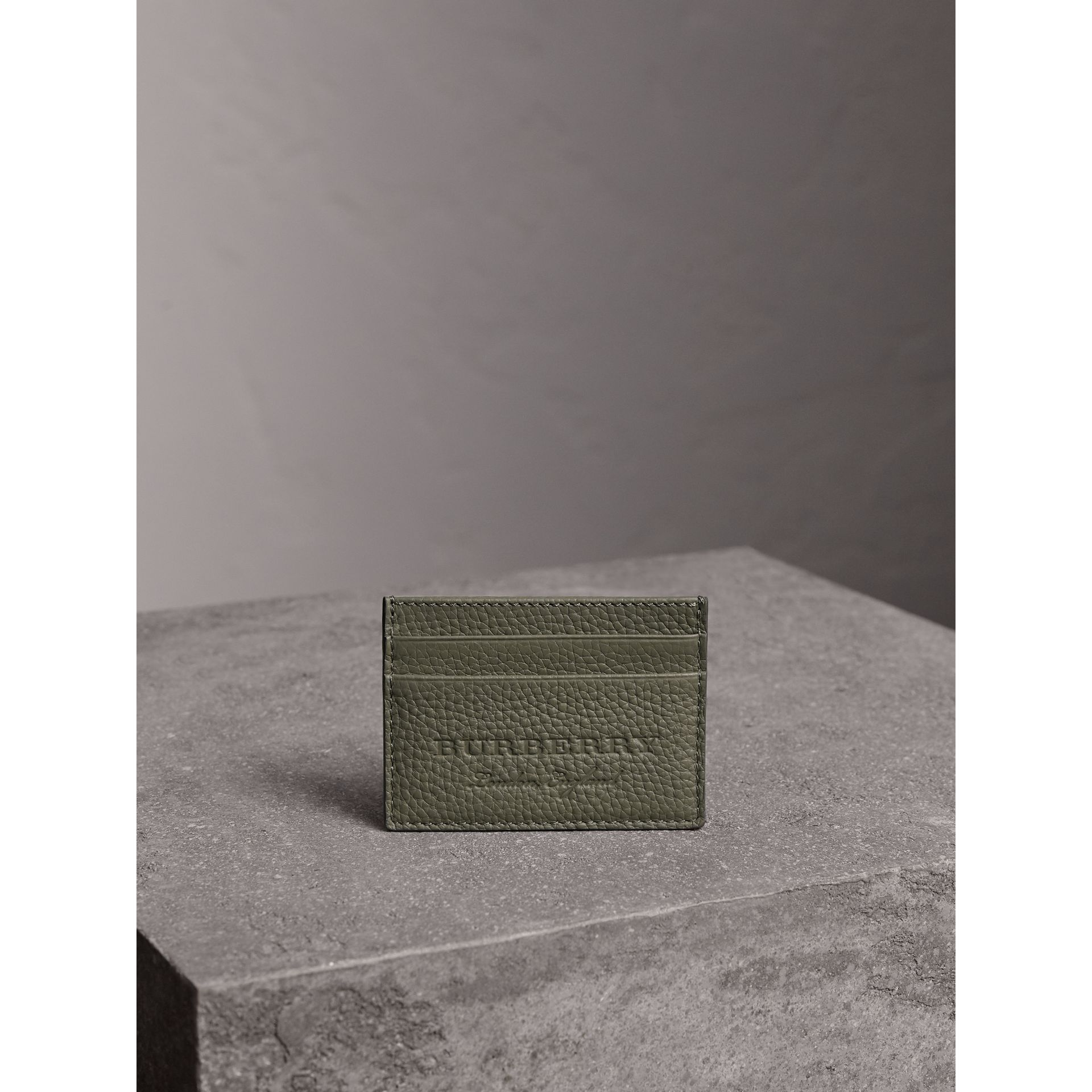 Textured Leather Card Case in Slate Green - Men | Burberry - gallery image 3