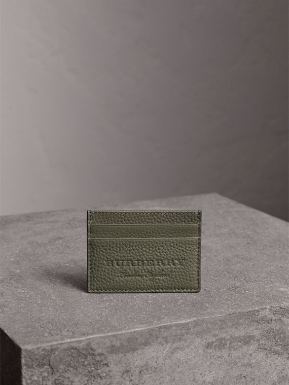Textured Leather Card Case in Slate Green - Men | Burberry Singapore - cell image 3