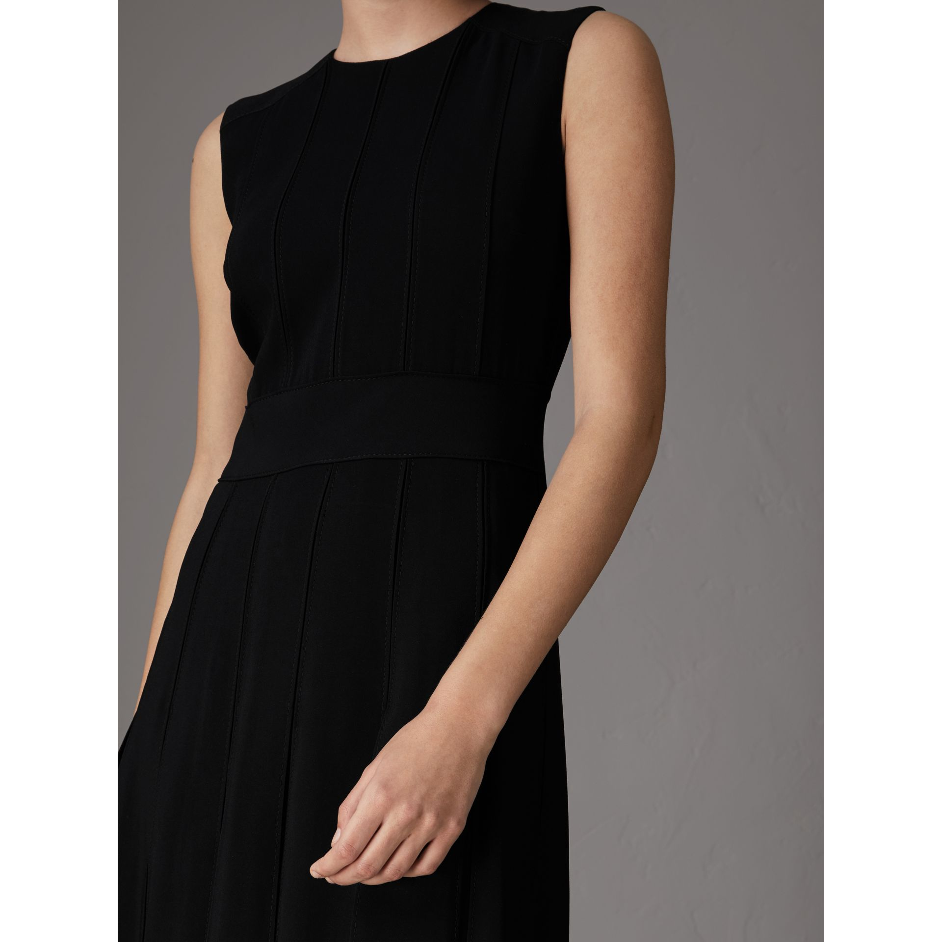 Sleeveless Pleat Detail Georgette Dress in Black - Women | Burberry - gallery image 1