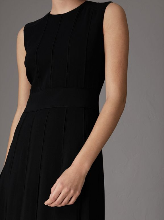 Sleeveless Pleat Detail Georgette Dress in Black - Women | Burberry - cell image 1