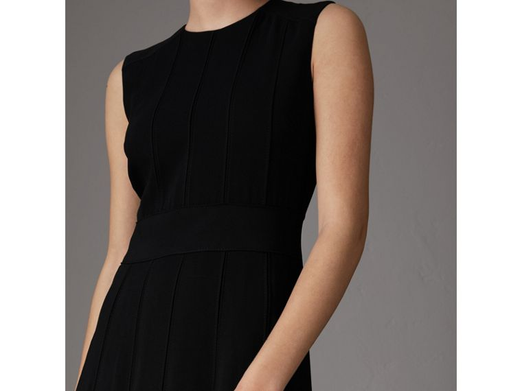 Sleeveless Pleat Detail Georgette Dress in Black - Women | Burberry Hong Kong - cell image 1