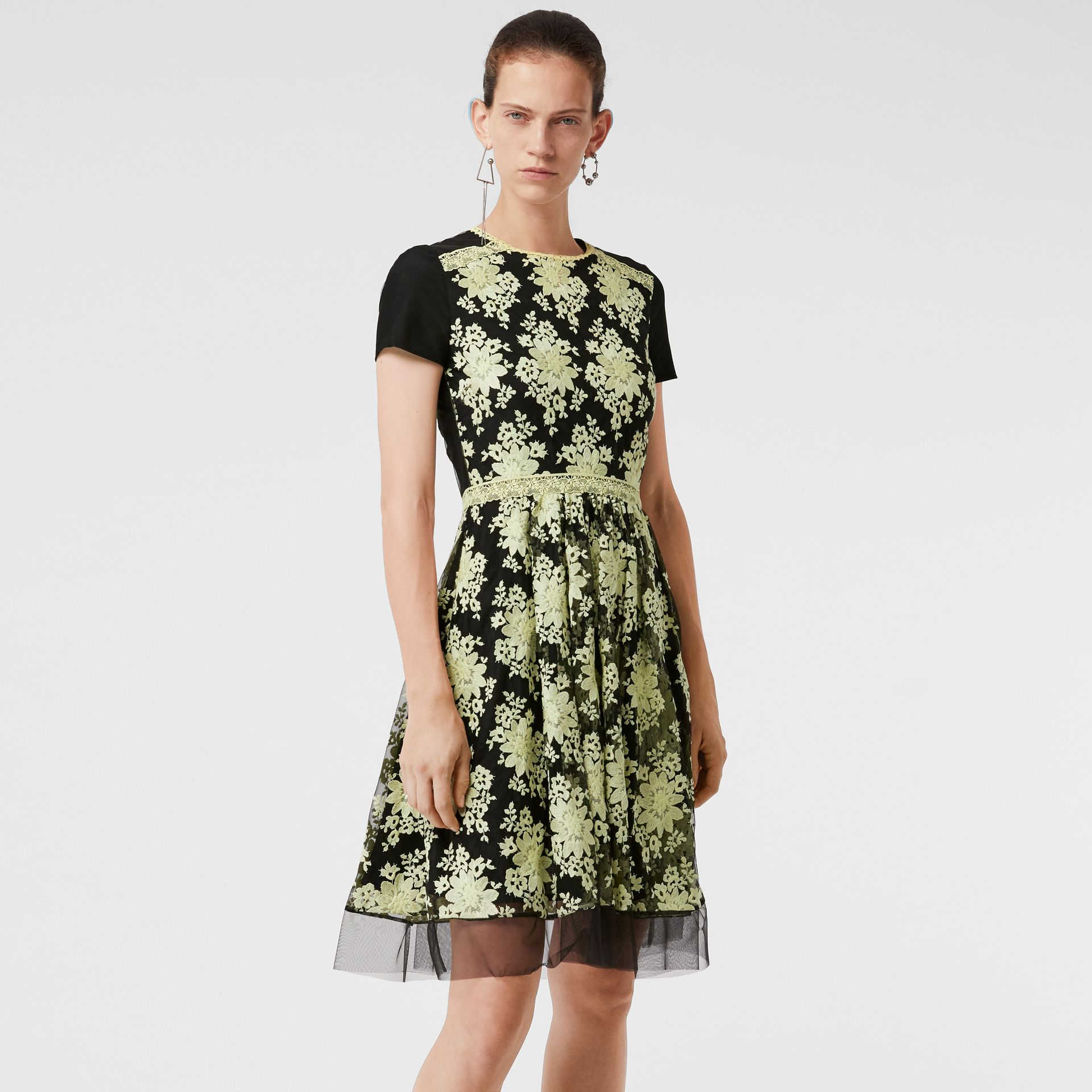 Short-sleeve Embroidered Tulle Dress in Pale Camomile - Women | Burberry Australia - gallery image 0