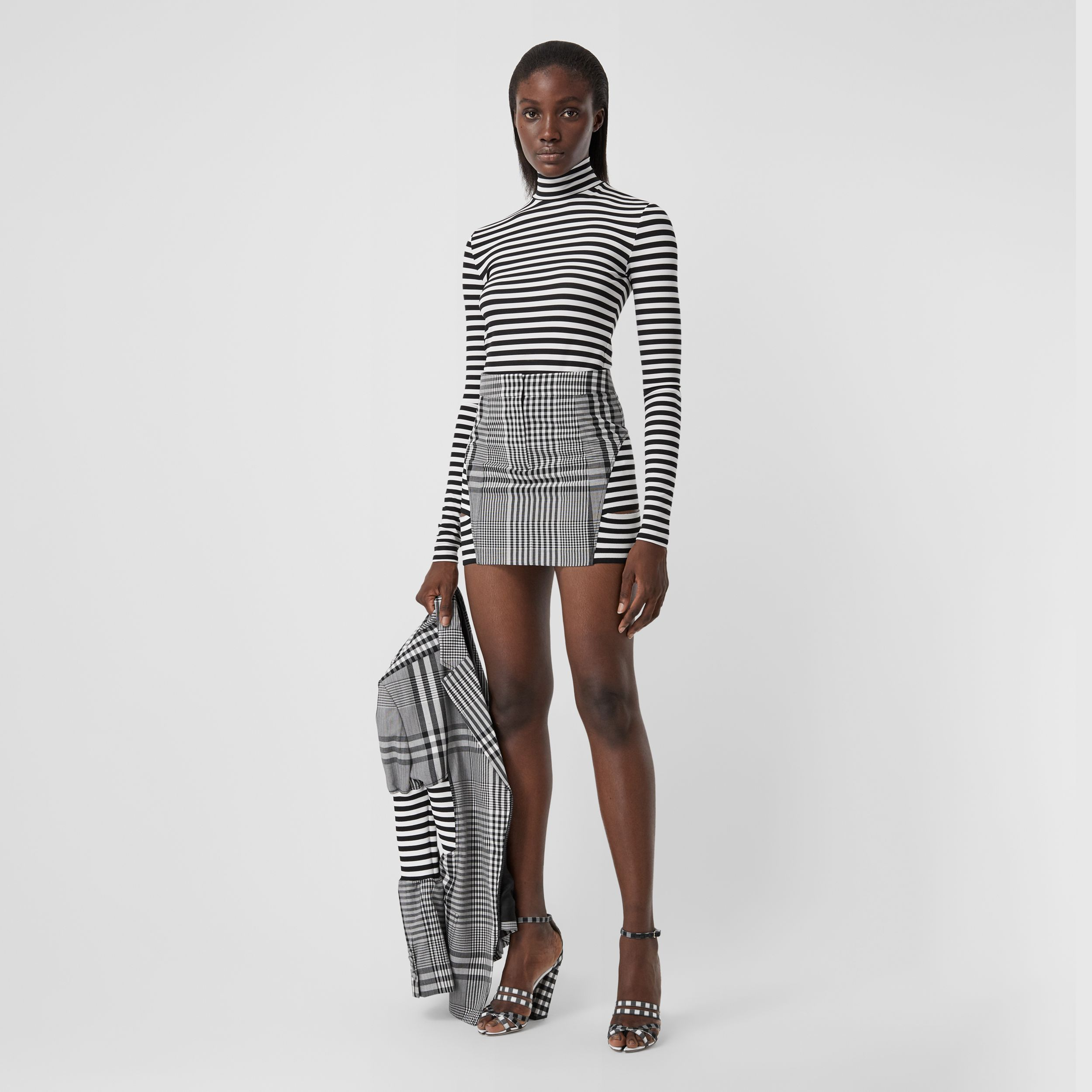 Striped Stretch Jersey Turtleneck Top in Black/white - Women | Burberry - 1