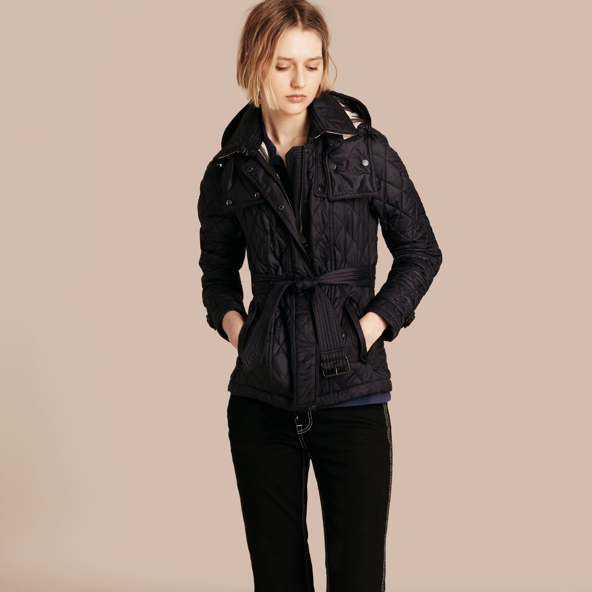 Quilted Trench Jacket with Detachable Hood in Ink - gallery image 7