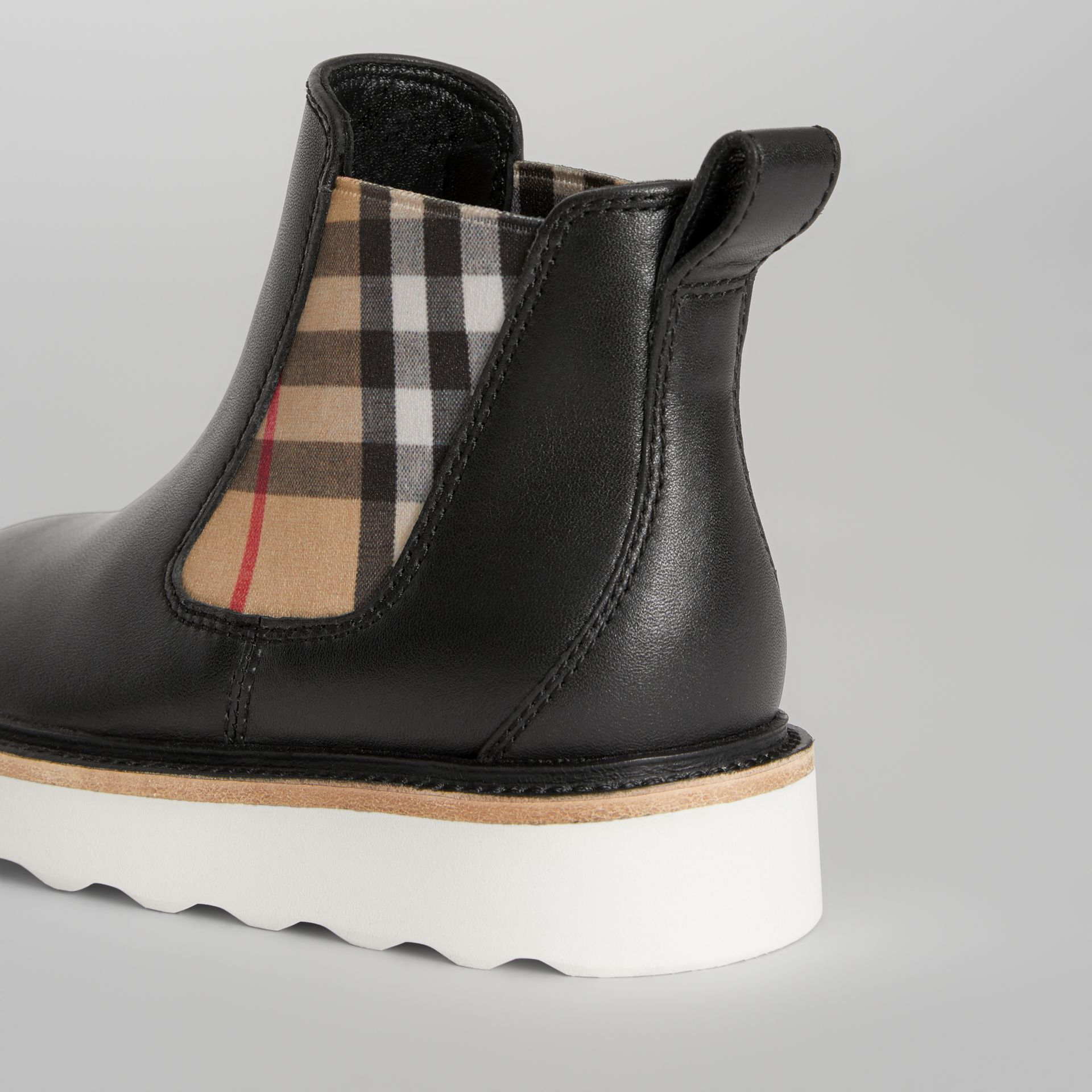 Vintage Check Detail Leather Chelsea Boots in Black | Burberry Canada - gallery image 1