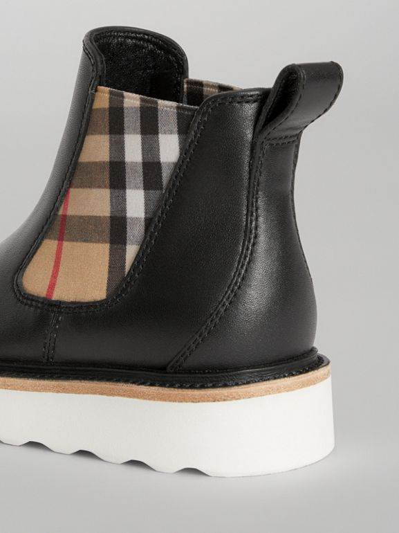Vintage Check Detail Leather Chelsea Boots in Black | Burberry - cell image 1