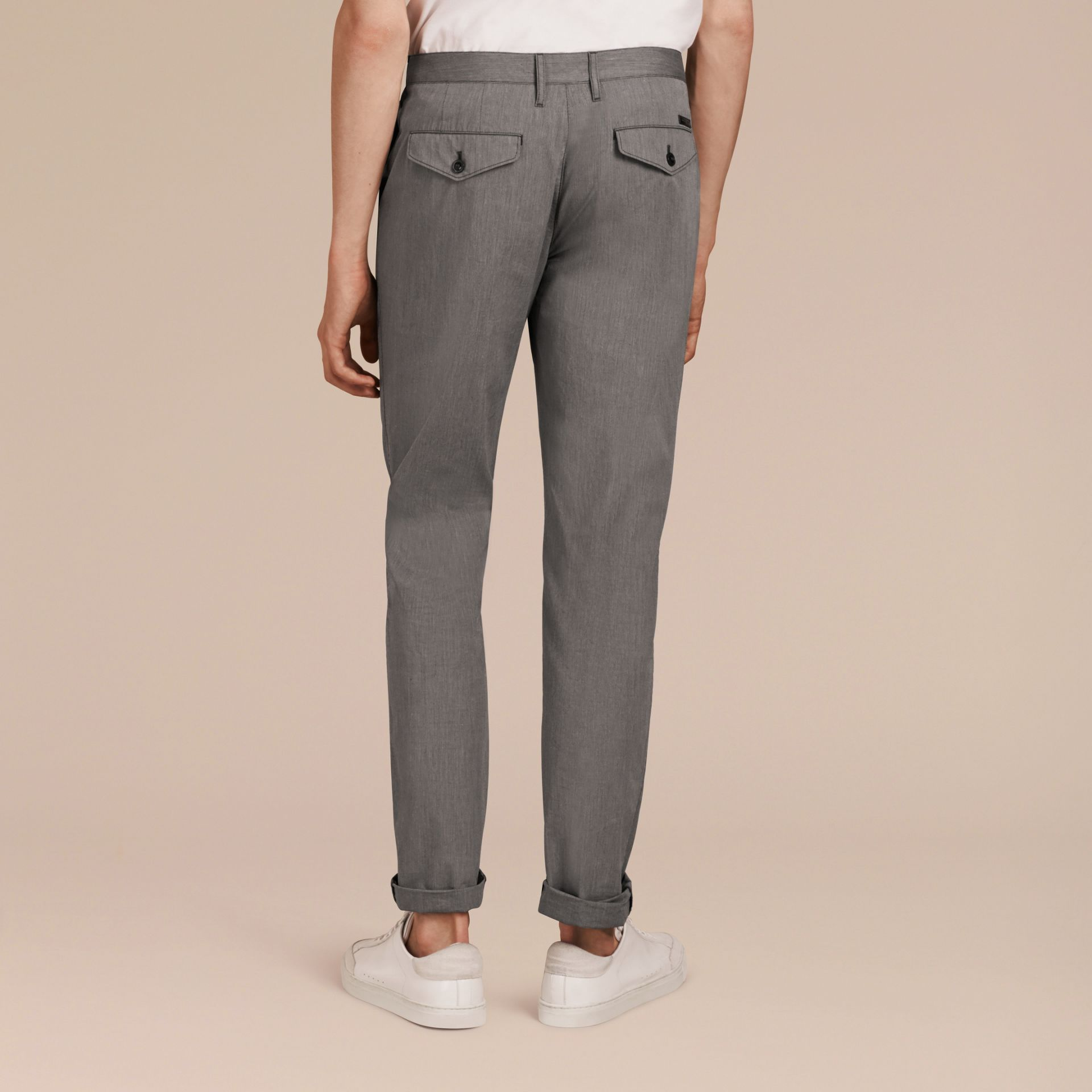 Dark grey Cotton Tapered Trousers - gallery image 3