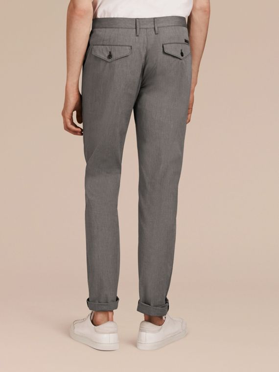 Dark grey Cotton Tapered Trousers - cell image 2