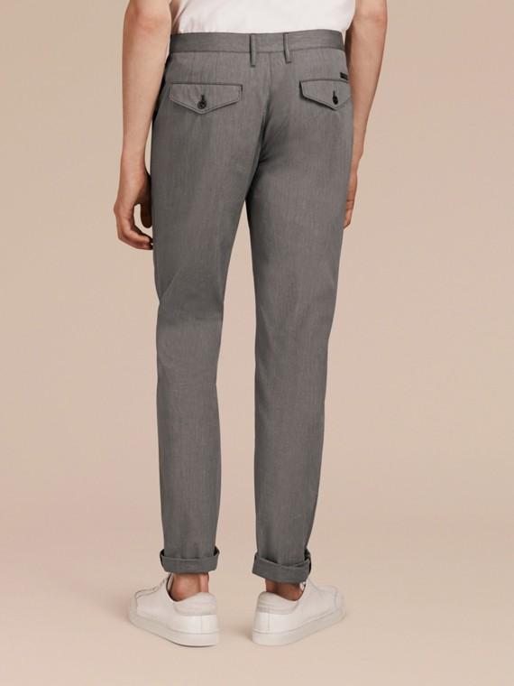 Gris oscuro Pantalones entallados en algodón - cell image 2