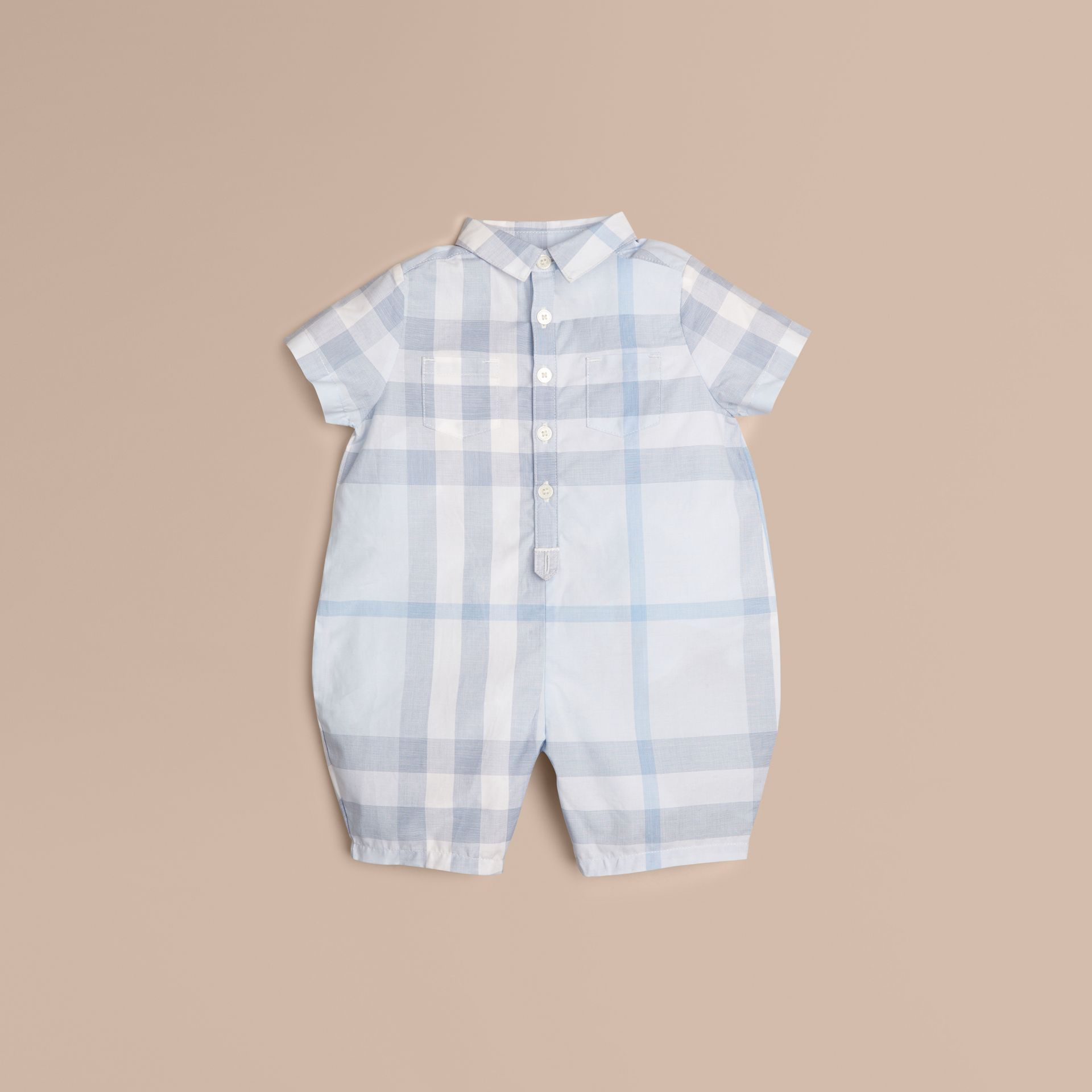Ice blue Check Cotton Playsuit Ice Blue - gallery image 1