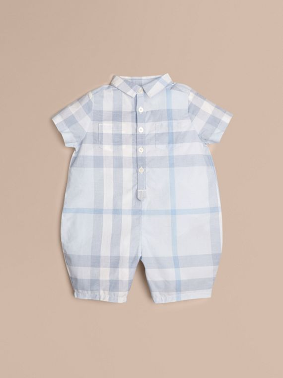 Check Cotton Playsuit Ice Blue