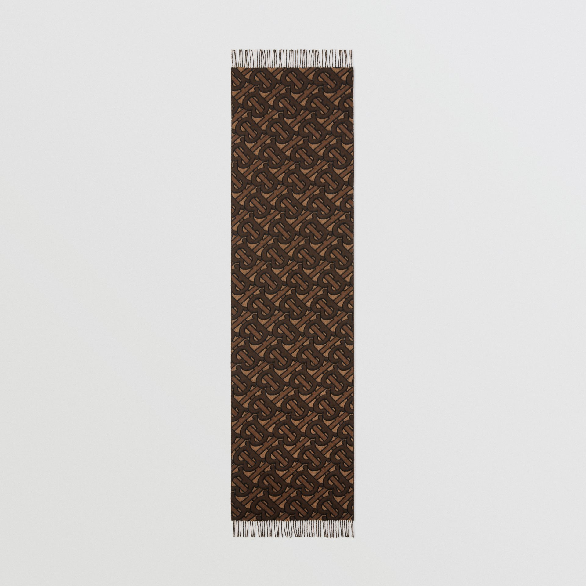 Monogram Cashmere Jacquard Scarf in Dark Mocha | Burberry - gallery image 5