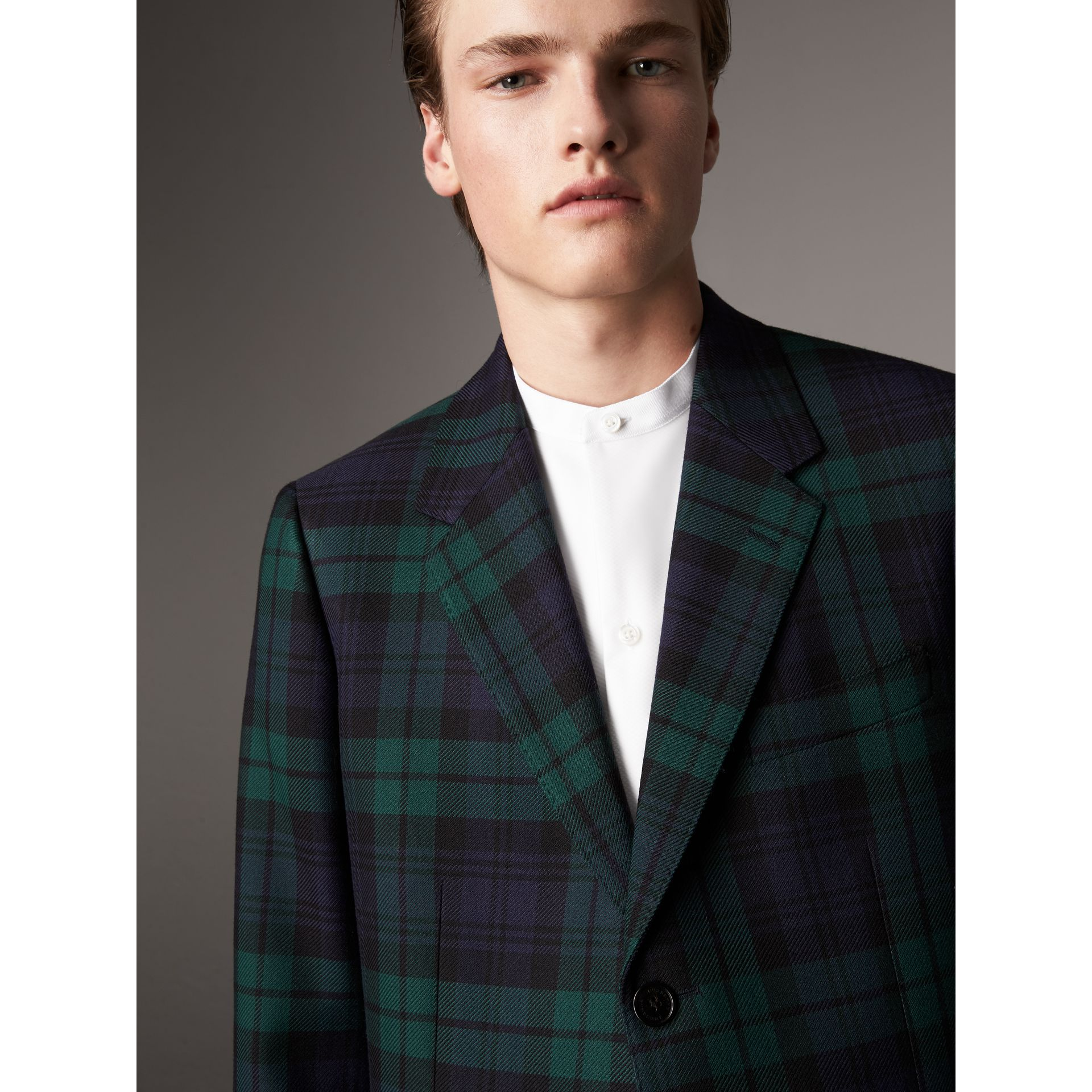 Tartan Wool Tailored Jacket in Bright Navy - Men | Burberry United Kingdom - gallery image 1