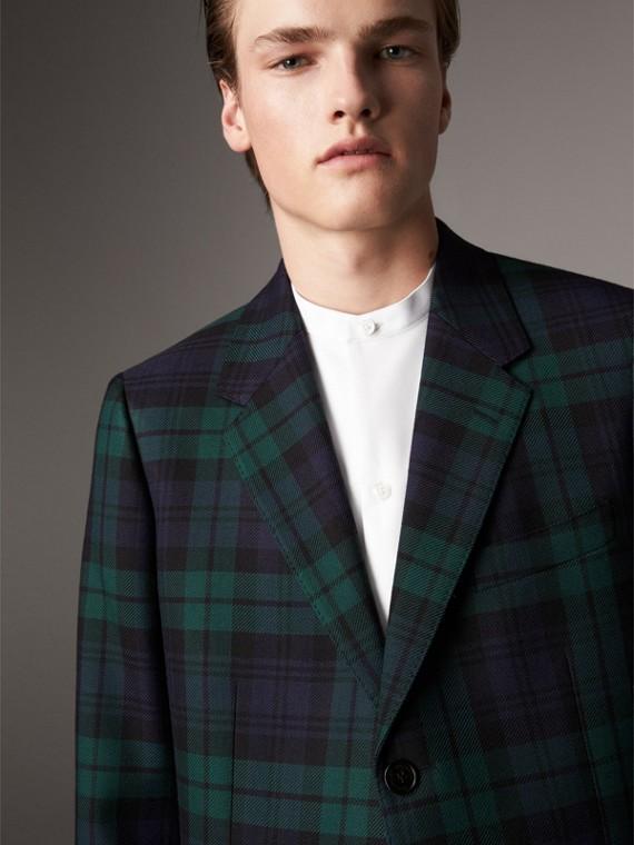 Tartan Wool Tailored Jacket in Bright Navy