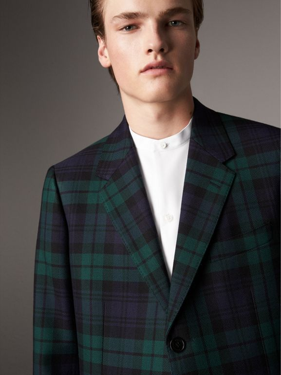 Tartan Wool Tailored Jacket in Bright Navy - Men | Burberry - cell image 1