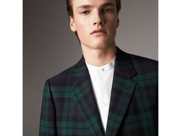 Tartan Wool Tailored Jacket in Bright Navy - Men | Burberry United Kingdom - cell image 1