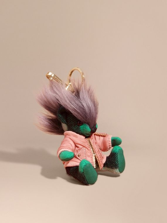 Thomas Bear Charm with Shearling and Pallas Heads Appliqué Bomber Emerald Green