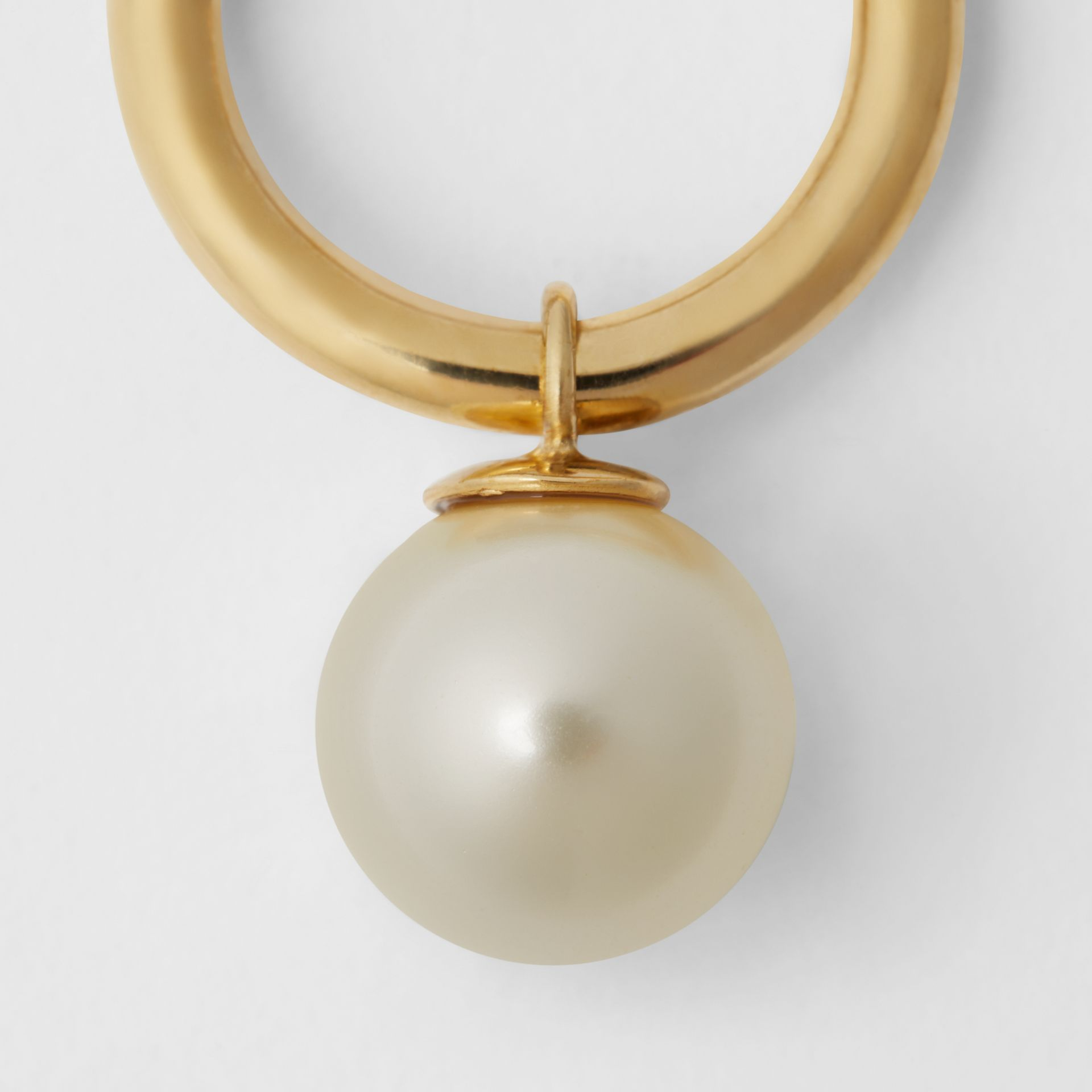 Faux Pearl Charm Gold-plated Ring in Light Gold/white - Women | Burberry Australia - gallery image 1