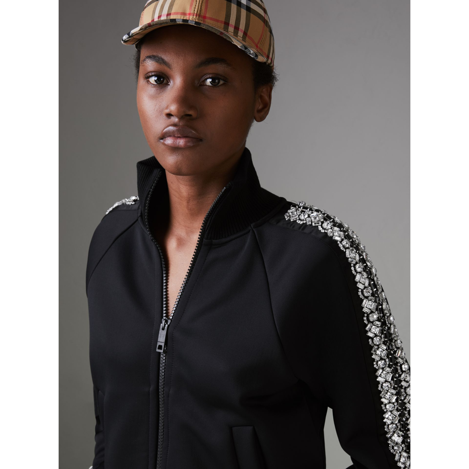 Crystal Detail Jersey Tracksuit Jacket in Black - Women | Burberry - gallery image 1