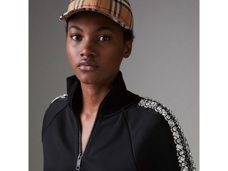 Crystal Detail Jersey Tracksuit Jacket in Black - Women | Burberry - cell image 1