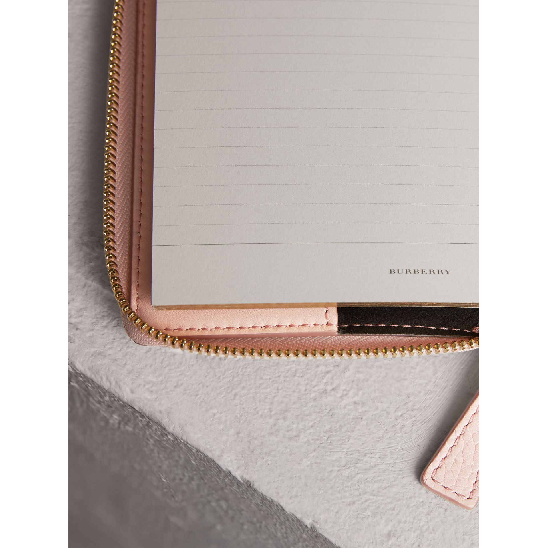 Embossed Grainy Leather Ziparound A6 Notebook Case in Pale Ash Rose | Burberry Singapore - gallery image 3