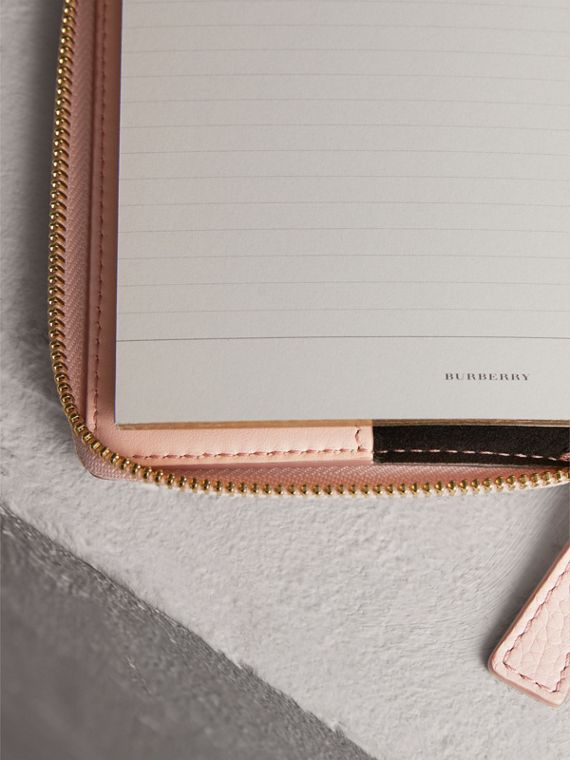 Embossed Grainy Leather Ziparound A6 Notebook Case in Pale Ash Rose | Burberry - cell image 3