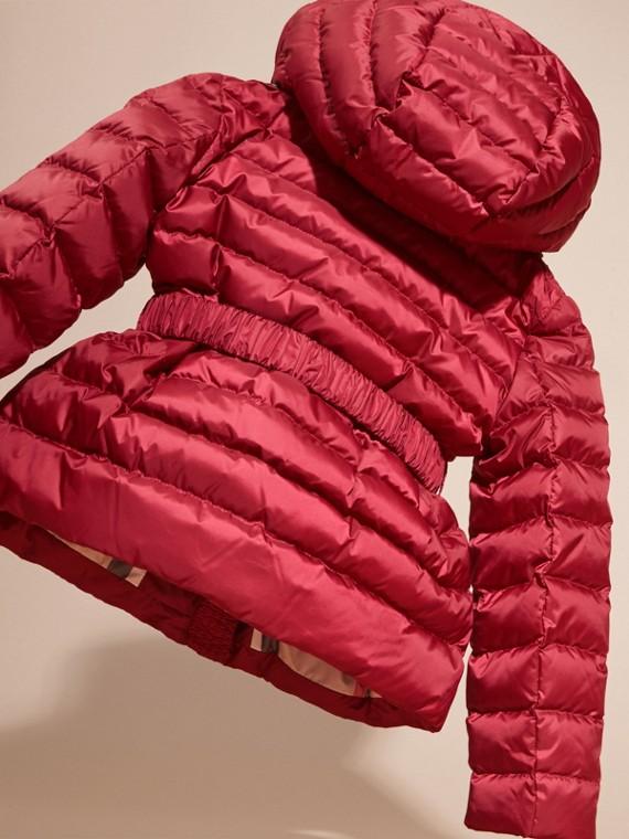 Dark plum pink Bow Detail Puffer Jacket - cell image 3